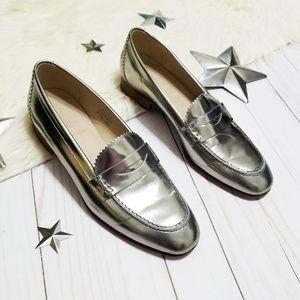 J. Crew metallic dark silver penny loafers leather